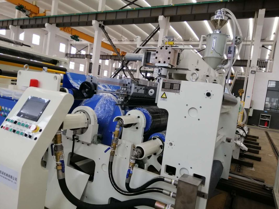 Flute Corrugated Board Automatic Extrusion Lamination Machine , High Speed Hot Lamination Machine In White and Blue